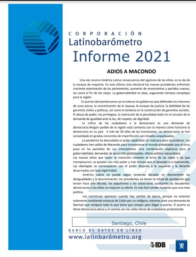 Informe Latinobarómetro 2021